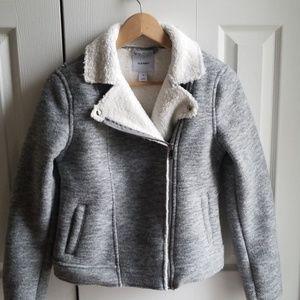Cute fleece moto jacket. Grey and white.